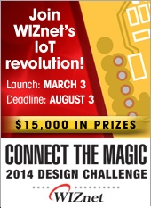 Elektor/Circuit Cellar is the challenge administrator for the WIZnet Connect the Magic 2014 Design Challenge
