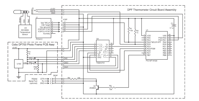 Figure 1: This schematic of the thermometer shows a portion of the Coby DP700 photo frame with a voltage comparator input that responds to different voltage levels from its >and< switches.