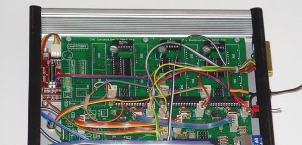 An Atmel ATmega88 microcontroller is at the heart of the CNC router controller.