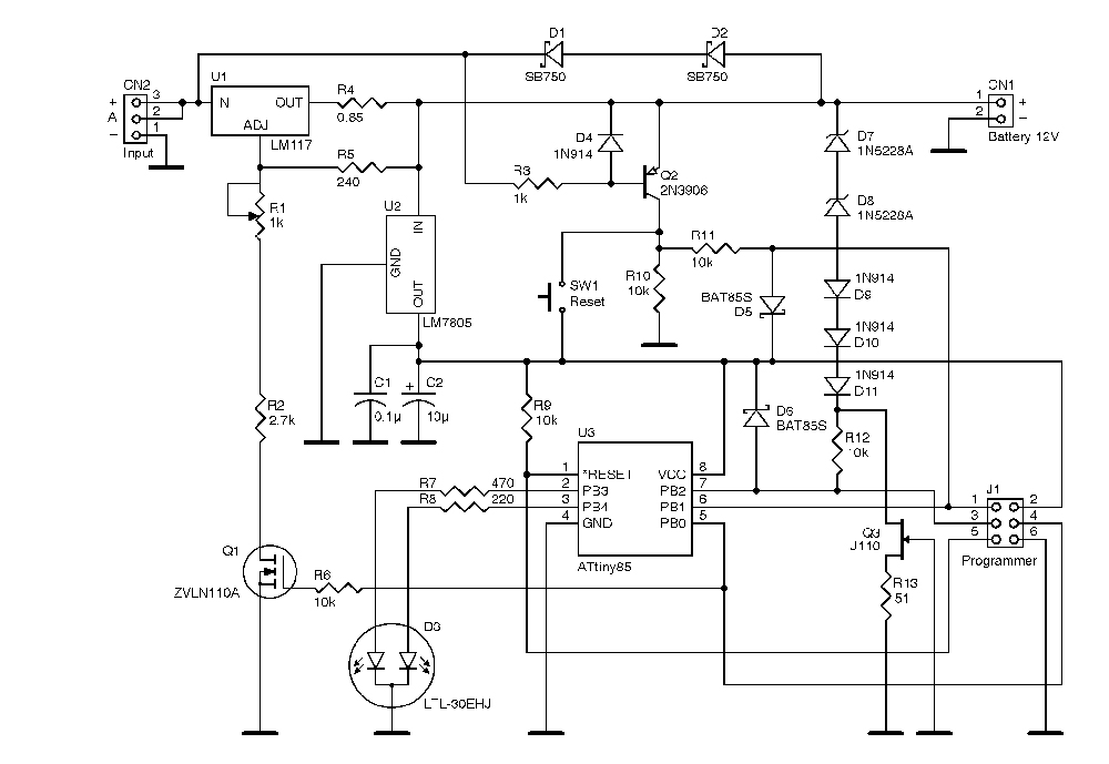 The charger schematic diagram is shown.