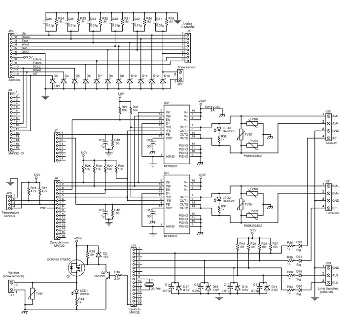 Figure 1: These are the H-bridge motor drivers and sensor input conditioning circuits. Most of the discrete components are required for transient voltage protection from nearby lightning strikes and inductive kickback from the motors.