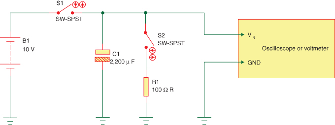Figure 1: The setup for experimenting with dielectric absorption doesn't require more than a capacitor, a resistor, some wires and switches, and a voltage measuring instrument.
