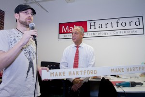 MakeHartford founder and President Steven Yanicke with Mayor Pedro Segarra