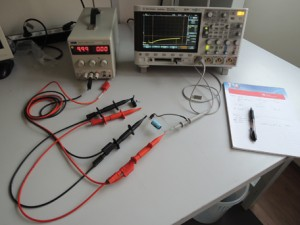 Photo 1: My test bench includes an Agilent Technologies DSO-X-3024A oscilloscope, which is oversized for such an experiment.