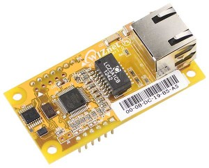 WIZnet's WIZ550io auto configurable Ethernet controller module includes a W5500, transformer, & RJ-45.
