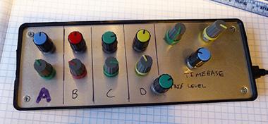 Photo: A simple USB-based knob board uses mechanical encoders to control the USB scope via a physical panel.