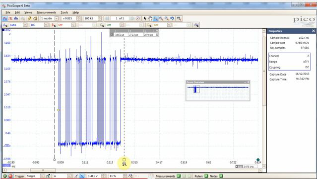 "This is a screenshot from Colin O'Flynn's YouTube video ""Using PicoScope AWG for Testing Serial Data Limits."""