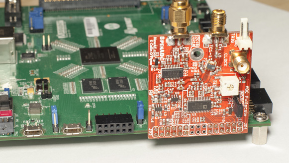 An Avnet ZedBoard is connected to the OpenADC. The OpenADC provides a moderate-speed ADC (105 msps), which interfaces to the programmable logic (PL) fabric in Xilinx's Zynq device via a parallel data bus. The PL fabric then maps itself as a peripheral on the hard-core processing system (PS) in the Zynq device to stream this data into the system DDR memory.