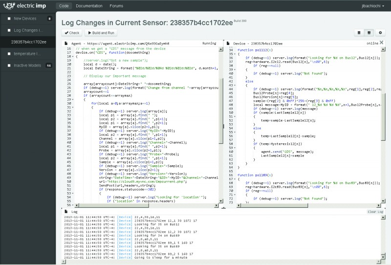 Bachiochi used the Electric IMP IDE to develop this code. Agent code on the top left runs on the imp cloud server. The device code on the top right is downloaded into the connected imp.