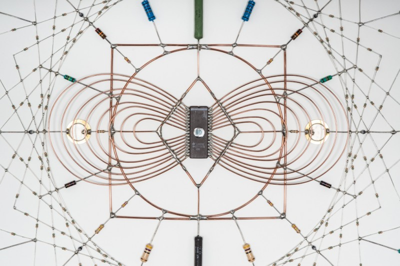 Technological Mandala 17: Electronic components, copper wire, paper, 72 cm x 72 cm, 2013 (closeup),