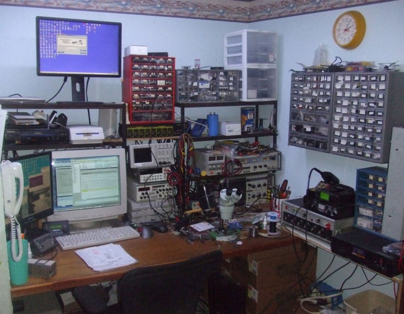This basement workspace reflects Steven's diverse projects and clients.