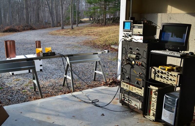 Photo 3: This shows impulse rail synthetic aperture radar (SAR) in action, one of many SAR imaging systems developed in Charvat's basement-garage lab.
