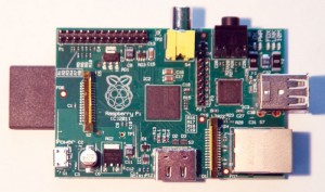 The Raspberry Pi is a small SBC based on an ARM processor. Its many I/O ports make it very useful for embedded devices that need a little more power than the typical 8-bit microcontroller.