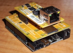 Photo 1: If you want a fancy server with lots of eye candy, a microSD card is the way to go. The WIZnet ioShields include the card socket and are available for various platforms. The Arduino version is shown here.