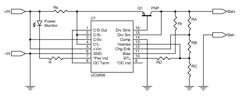 Figure 1: This lead-acid battery charger uses Texas Instruments's UC2906 IC.