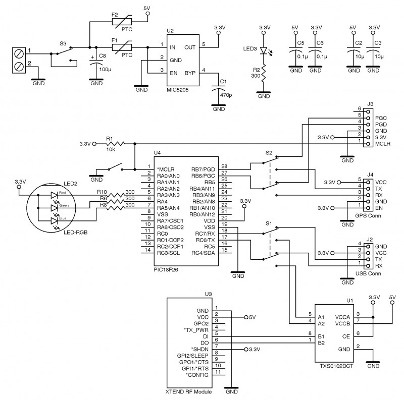 Figure 4: The mobile tracker includes a Microchip Technology PIC18F26K22 microcontroller, a Micrel MIC5205 regulator, a Digi International XTend RF module, and a Texas Instruments TXS0102 bidirectional translator