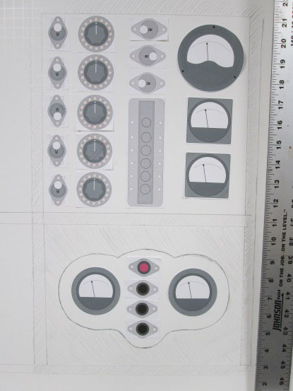 The paper and card mockup of the Prognostication Engine's upper and low control panels