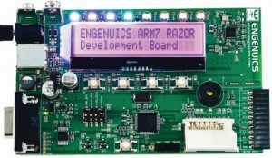 This ARM-based development board is made by Jason's company, Engenuics Technologies.