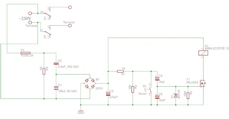 Figure 1: This is the timer schematic. The Reset button S1 is optional.