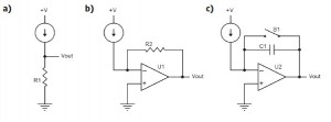Figure 2: Current measurement circuits: resistive (a), transimpedance (b), and integrator (c)