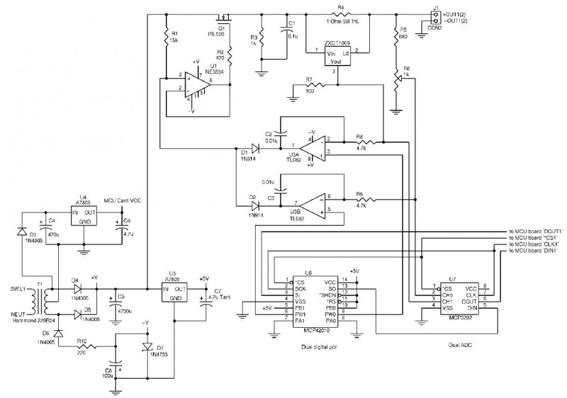 The ground-referenced power supply includes an independent 5-V supply to run the microcontroller module.