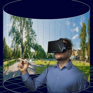 This is a virtual reality simulation system that supports research relating to chronic neck pain therapies developed by Dr. Markus Broecker and Dr. Ross Smith. (Image used with permission from Bruce H. Thomas, Wearable Computer Lab, University of South Australia)