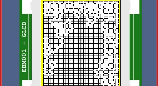 A maze generation algorithm being tested using a graphical LCD and the Flowcode simulation.