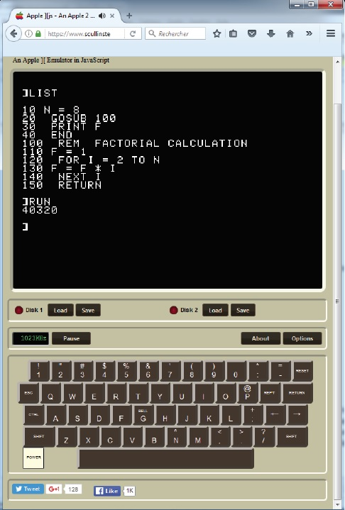 PHOTO 1: An online emulator for my old Apple II