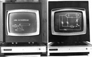 Photo 2: The surplus Sanders Associates analog displays were essentially big oscilloscopes. By having the computer continually send a series of analog XY values to the display, it would draw lines between these points. As you can see, line drawings can be quite versatile.