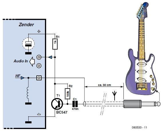 simple guitar transmitter circuit cellar. Black Bedroom Furniture Sets. Home Design Ideas
