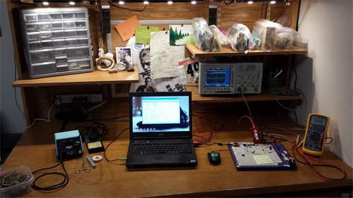 Coulston can reconfigure his desk into the embedded workstation pictured here.