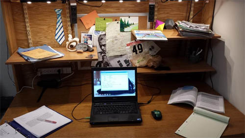 Coulston's workspace configured as an office desk
