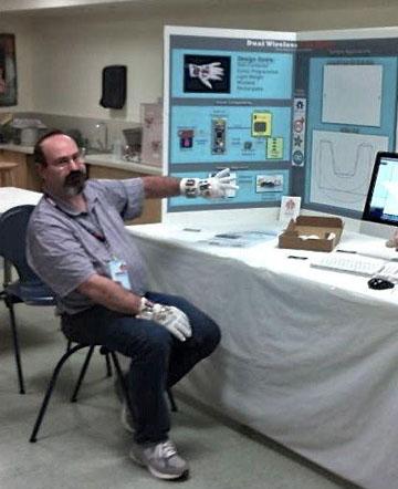 Wireless data gloves on display at World Maker Faire New York. (Photo: Rohit Mehta)