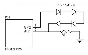 Figure 1: This is the portion of the water alarm circuit used for the battery monitor. The series diodes offer a 1.33-V total  drop, which offers a reference voltage so the ADC can see changes in the battery voltage.