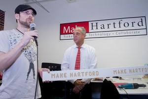 MakeHartford founder and President Steven Yanicke with Mayor Pedro Segarra