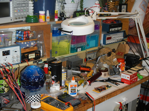 "Steve Lubbers describes his workbench as a ""work in progress."""