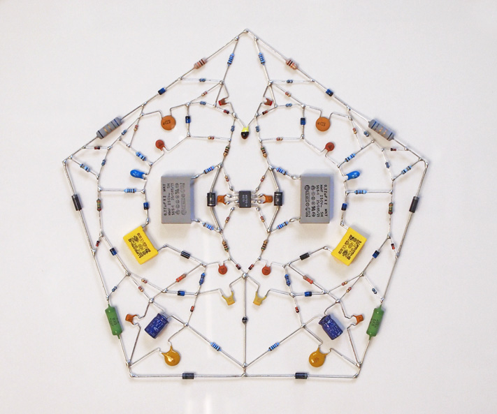 Technological Mandala 05: Electronic components, microchip, wood frame, 60 x 57 cm, 2012. (Photo courtesy of Leonardo Ulian)