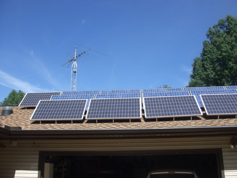 These solar panels are mounted on Steve's east-facing roof.
