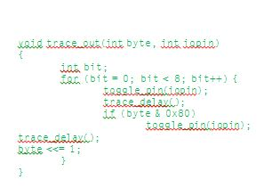 Listing 1: Transmitting a byte in biphase encoding, based on a function to toggle an I/O pin, is shown.