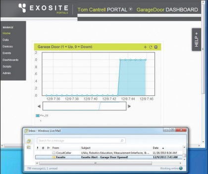 "It only takes a few minutes to set up a simple Exosite dashboard including an e-mail alert. I can ""see"" my  garage door without getting off the couch and now, via Exosite, from the farthest reaches of the web."