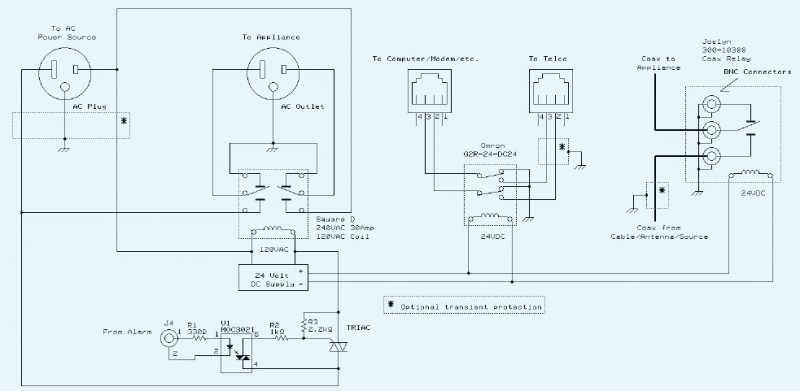 """The hits-per-minute converter also generates a """"lightning alarm"""" output. This signal causes the circuit to physically disconnect the AC power, cable, and phone-line connections to the protected appliance."""