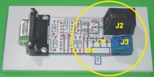 Photo 3: Notice that D1 will not actually touch J2, as the PCB layout program's silkscreen outline indicates.