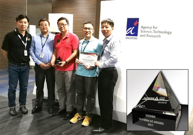 First Place Winners of the 2017 Mentor FloTHERM ΔTJ Award: Gong Yue Tang, Yong Han, Boon Long Lau, Xiaowu Zhang, and Daniel Min Woo Rhee,