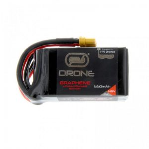 Photo 1 The Graphene Drone FPV Race series LiPo batteries provide lower internal resistance and less voltage sag under load than standard LiPo batteries. As a result, the battery packs stay cooler under extreme conditions