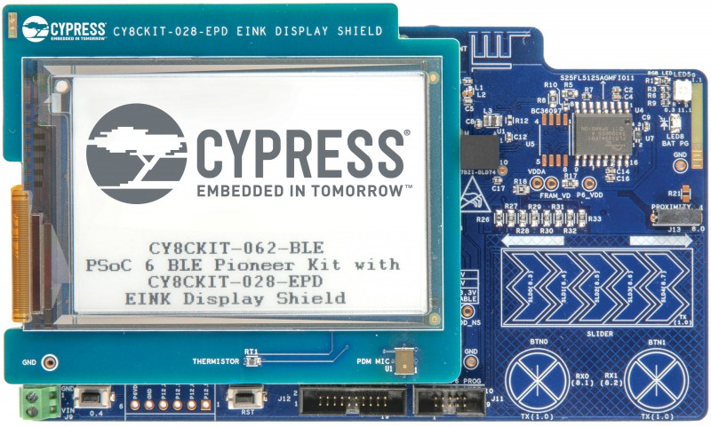 Photo 1 The PSoC BLE Pioneer Kit features a PSoC 63 MCU with BLE connectivity. The kit enables development of modern touch and gesture-based interfaces that are robust and reliable with a linear slider, touch buttons and proximity sensors based using Cypress' CapSense capacitive-sensing technology.