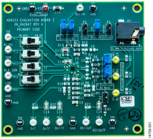 Photo 2 The AD8233CB-EBZ evaluation board contains an AD8233 heart rate monitor (HRM) front end conveniently mounted with the necessary components for initial evaluation in fitness applications.